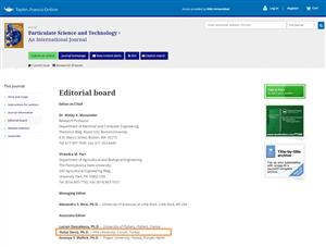"Prof. Dr. Vedat Deniz ""Particulate Science & Technology"" Dergisine ""Associate Editor"" Olarak Seçildi"